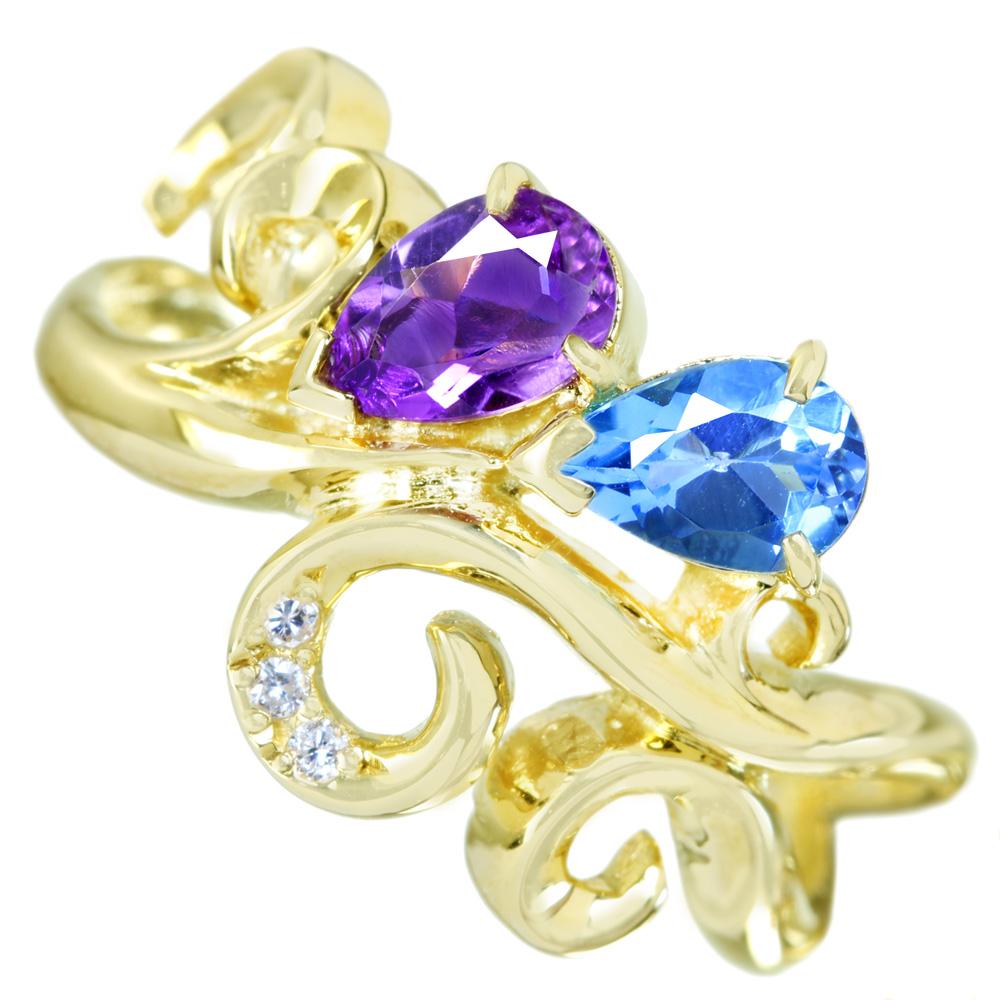 K18 スイスブルートパーズ/アメジスト 1ct ダイヤモンド 0.018ct リング