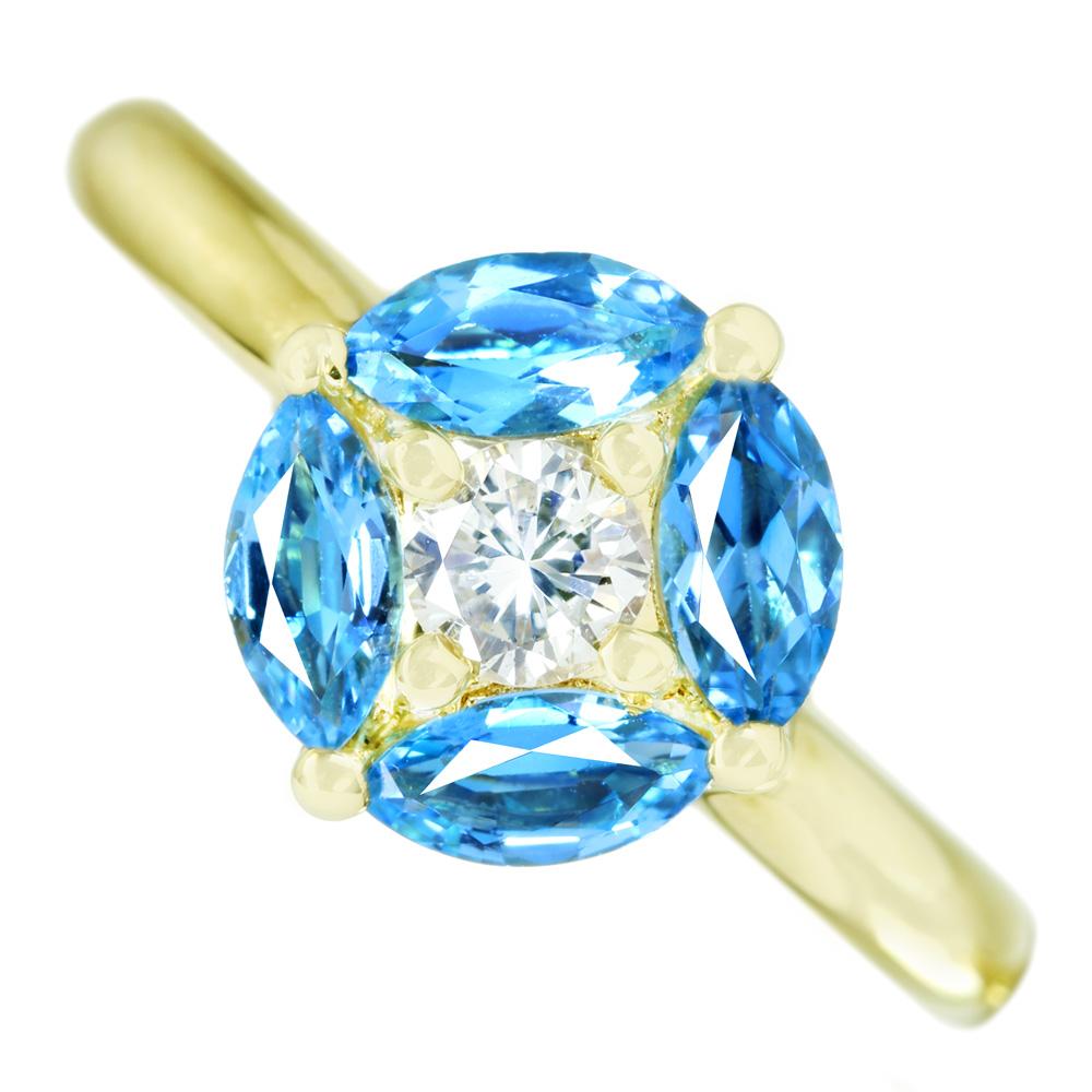 K18 スイスブルートパーズ 0.85ct ダイヤモンド 0.20ct リング