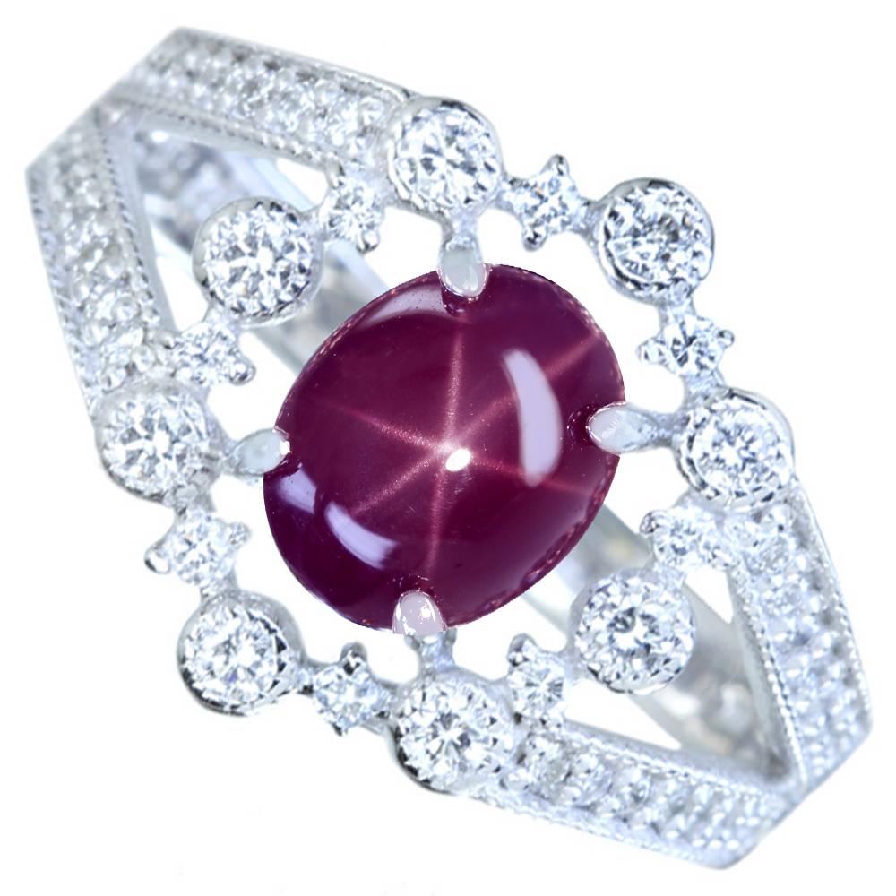 【取り巻きジュエリー】PT900 スターヴァイオレットスピネル 1.51ct ダイヤモンド 0.32ctリング