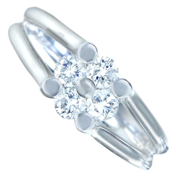 PT900 ダイヤモンド 0.5ct フラワーモチーフ リング 一石辺り 0.125ct ダイヤモンド! 大きく綺麗。