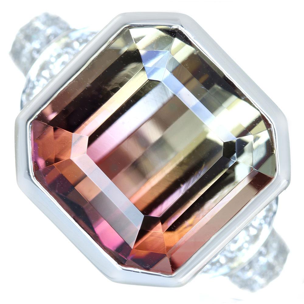 【新作特別追加!!】【利益大還元。- Jewelry with HOPE -】PT900 バイカラートルマリン 10.02ct リング ダイヤモンド 0.44ct