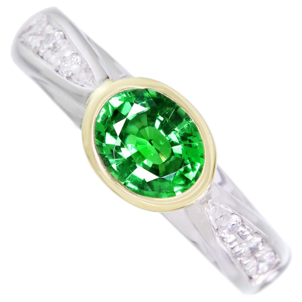PT900/K18 グリーンガーネット 1.01ct ダイヤモンド 0.13ct ベゼルセッティング リング