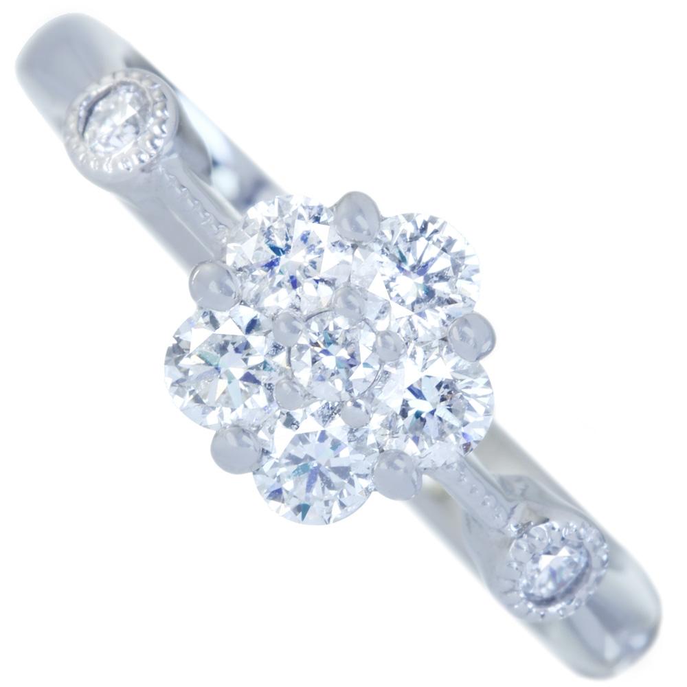 【取り巻きジュエリー】PT900 ダイヤモンド 0.45ct リング フラワーモチーフ