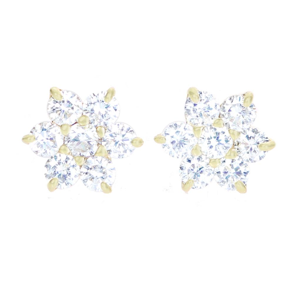 K18 ダイヤモンド 0.15ct/0.15ct ピアス フラワーモチーフ
