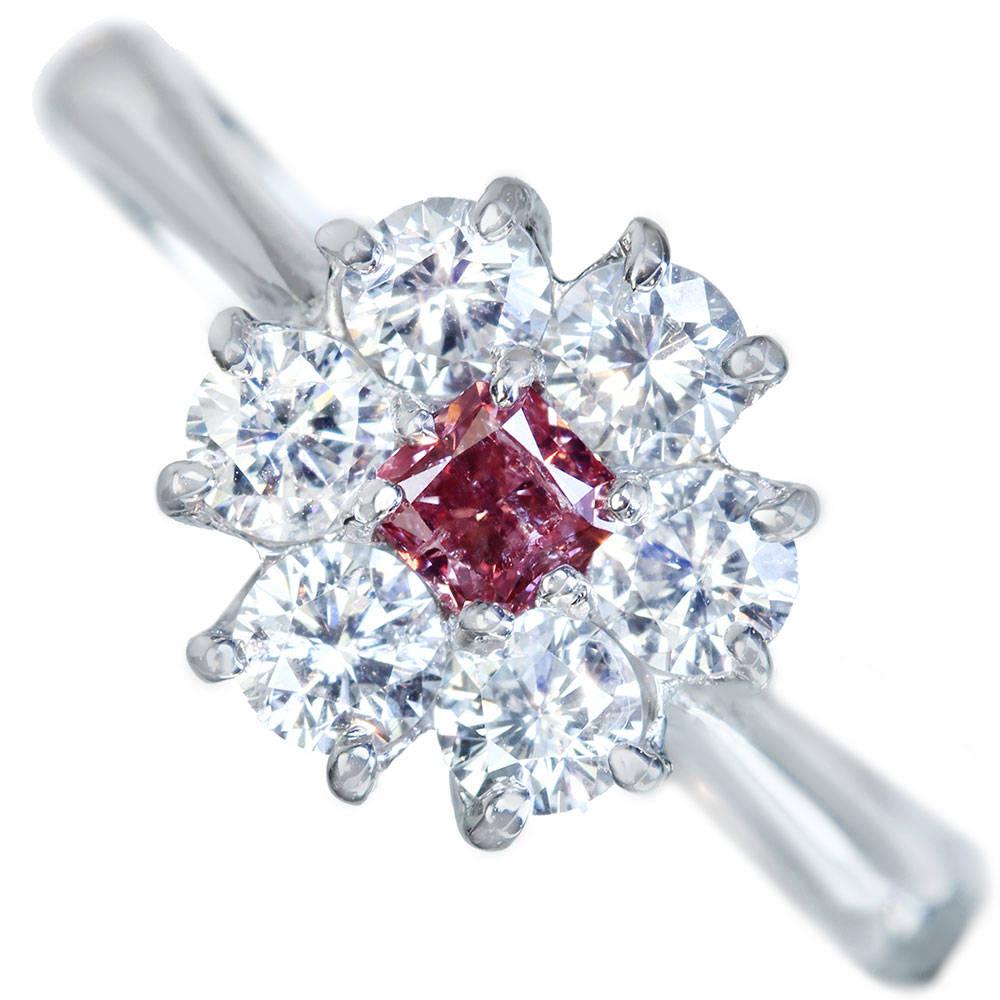 PT900 ピンクダイヤモンド 0.216ct FANCY DEEP ORANGY PINK リング ダイヤモンド 0.73ct〔AGT〕 アーガイルピンクダイヤモンド