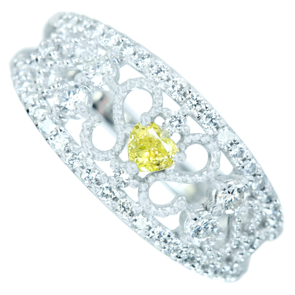 お買い得モデル PT900 天然イエローダイヤモンド 0.149ct FANCY YELLOW VS-2 ダイヤモンド 0.47ct リング, AOIコレクション f09510eb