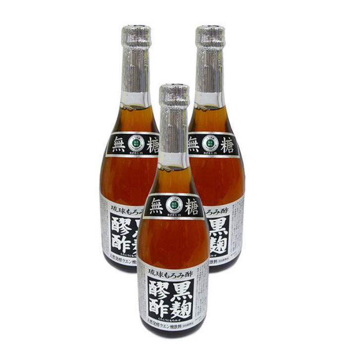 泡盛製造元ならではの天然発酵クエン酸飲料 黒麹醪酢 無糖 本物 720ml×3本 最安値に挑戦 ヘリオス酒造 全国送料無料