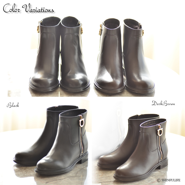 Salvatore Ferragamo Luxurious boots/ Queen shoes/ warm footwear/ Salvatore Ferragamo/ Toni/ bootie /Engineer boots/ real leather/ side zip/ shortstop/ black/ brown/ low heel