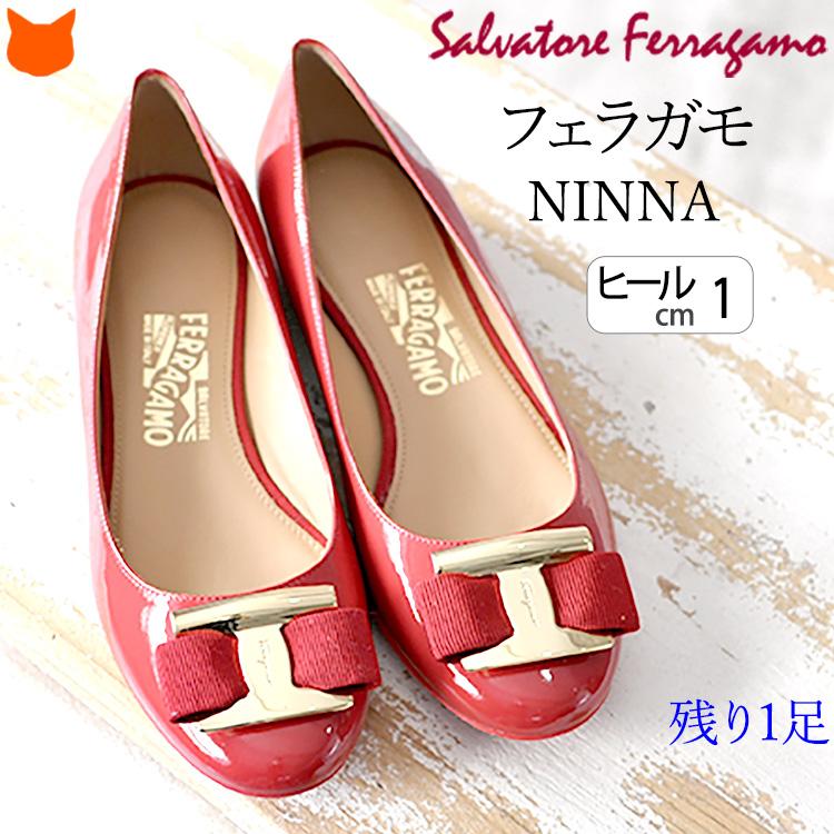 フェラガモ フラット パンプス レディース 靴 NINNA Salvatore Ferragamo エナメル バレエシューズ 赤 レッド 大きいサイズ 25.5cm 26.5cm