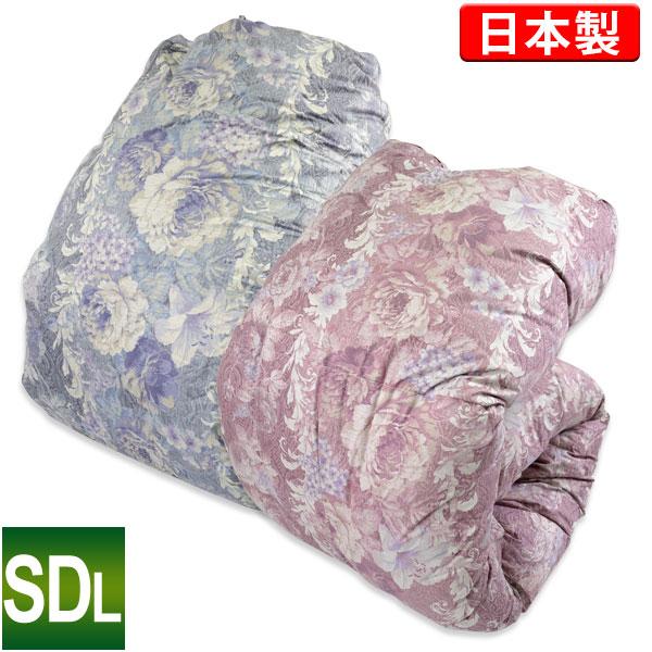 羽毛布団 2層式 セミダブルロング 170×210cm (モアレ 増量) ポーランド産WGD93% ホワイトグースダウン 日本製 ロイヤルゴールドラベル 側生地 超長綿100% 代引き不可