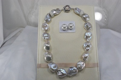 淡水 真珠  17-20 mm ネックレス   バロック  グレー  16pcs 白蝶 15mm ペア    532P15May16          ポイント5倍