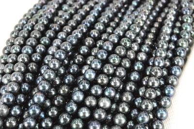 アコヤ真珠の5-6mmラウンドのブラックマルチカラーrdカラーの引き輪アジャスターで アコヤ 真珠 5-6mm マルチ 今だけ限定15%OFFクーポン発行中 ラウンド ブラック ネックレス 超激安特価