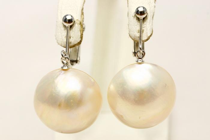 マベ真珠パールイヤリング 17mm ホワイトピンクカラー