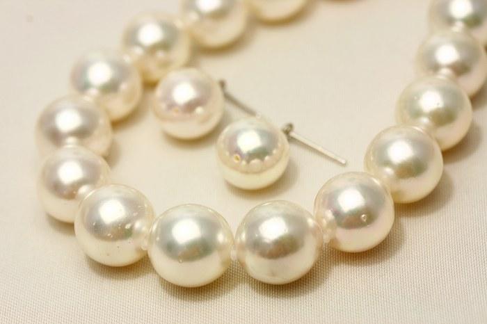 アコヤ真珠パールネックレス/ピアスセット 10.0-11.0mm ホワイトカラー