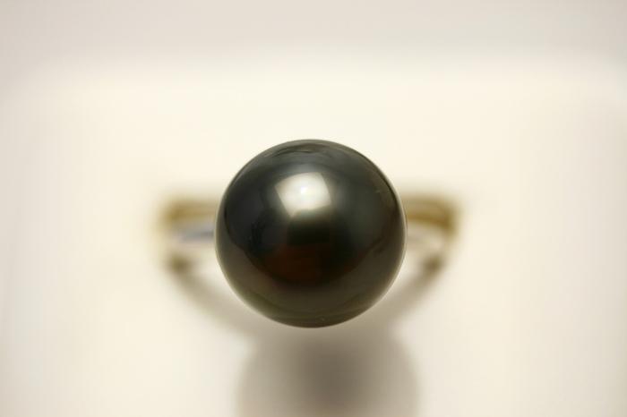 タヒチ黒蝶真珠パールリング【指輪】 11mm ブラックカラー K18WG製