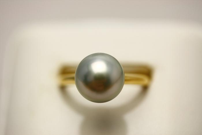 タヒチ黒蝶真珠パールリング【指輪】 10mm グリーングレーカラー K18製
