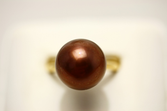 タヒチ黒蝶真珠パールリング【指輪】 13mm チョコレートカラー K18製