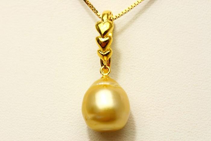 南洋白蝶真珠パールペンダントトップ 11mm ナチュラルゴールドカラー
