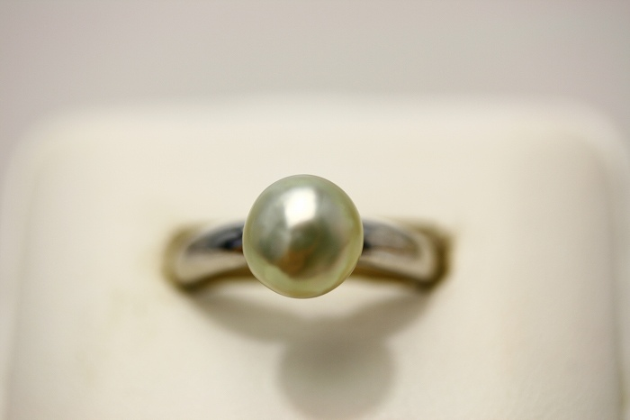 南洋白蝶真珠パールリング【指輪】 ケシ 8mm シルバーグリーンカラー