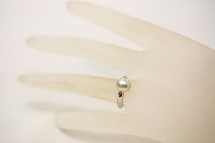 南洋白蝶真珠パールリング 指輪ケシ 8mm シルバーグリーンカラーe9HY2bWIED