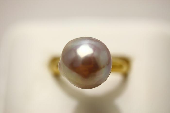 淡水真珠パールリング 指輪12mm パープルカラーnX8wk0OP