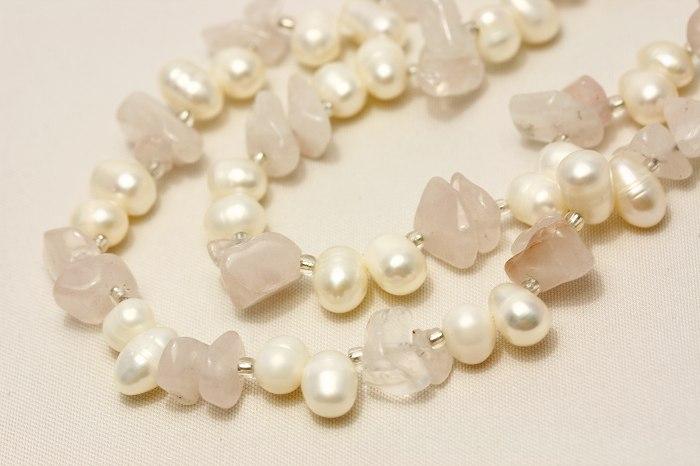 淡水真珠パールデザインロングネックレス ホワイトカラー 5mmUP