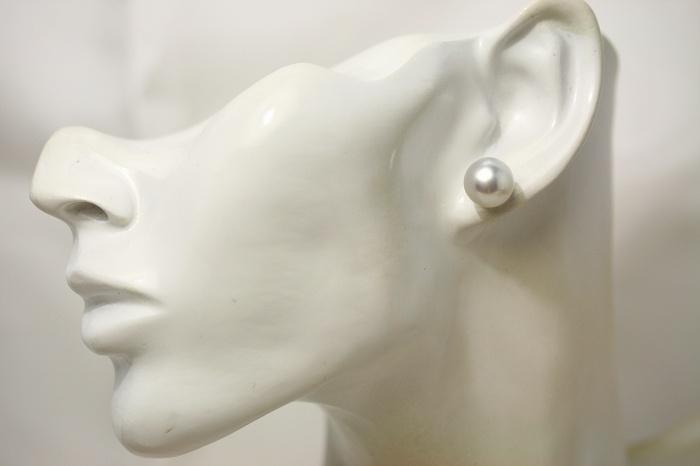 南洋白蝶真珠パールピアス シングルデザイン 11mm ホワイトピンクカラー K14WG製OnP8wk0