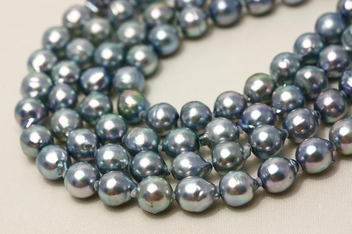 アコヤ真珠パールスーパーロングネックレス 7.0-7.5mm ブルーカラー