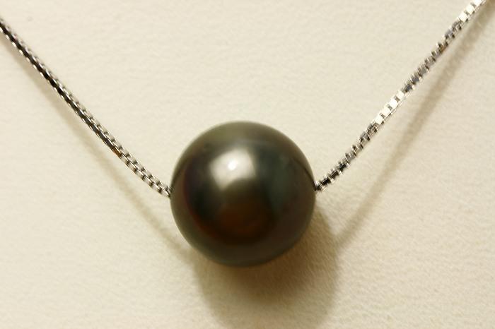 タヒチ黒蝶真珠スルーパールネックレス 12mm ブラックカラー