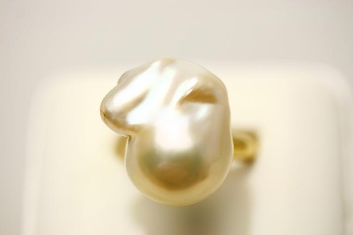 淡水真珠パールリング【指輪】 20×17mm ピンクカラー