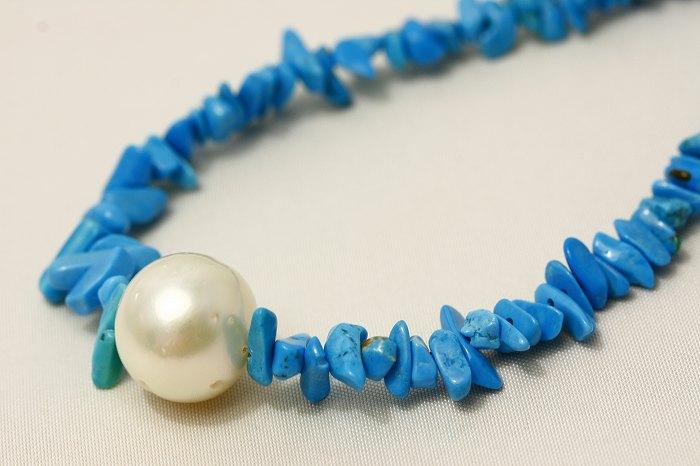 南洋白蝶真珠パールネックレス/ターコイズ 14mm ホワイトカラー