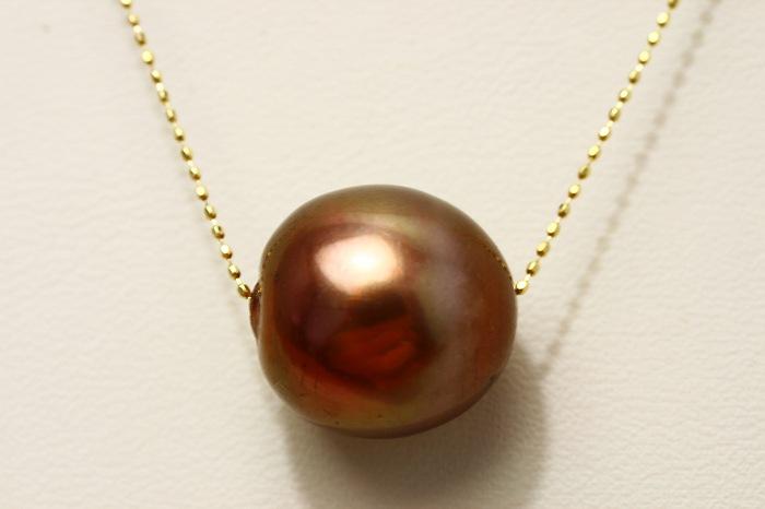 タヒチ黒蝶真珠スルーパールネックレス 16×15mm チョコレートカラー K18製