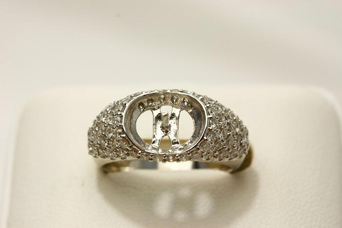 K18WG製/D1.10ct 真珠用 リング空枠