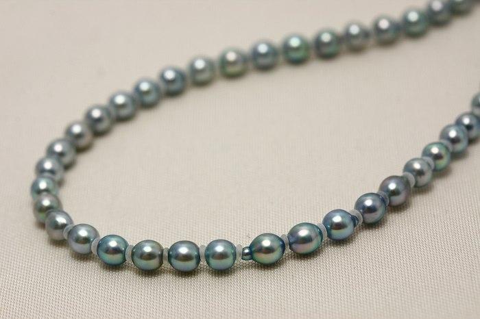 アコヤ真珠パールネックレス 3.0-3.5mm ブルーカラー