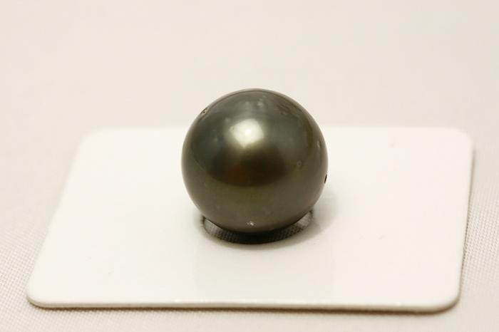 タヒチ黒蝶真珠パールルース 両穴 13mm ブラックカラー