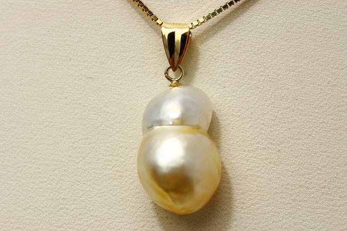 南洋白蝶真珠パールペンダントトップ ケシ 16×11mm ホワイトゴールドカラー K18製