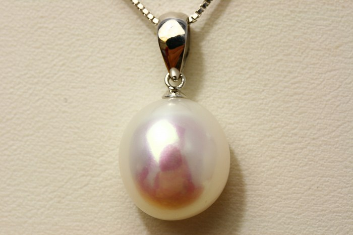 淡水真珠パールペンダントトップ 14×13mm ホワイトピンクカラー K18WG製