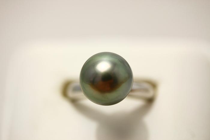 タヒチ黒蝶真珠パールリング【指輪】 10mm ブラックグレーカラー