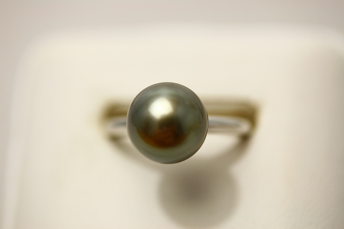 タヒチ黒蝶真珠パールリング【指輪】 10mm ブラックグレーカラー K18WG製