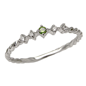グリーンガーネットリング ダイヤモンドリング K18 指輪 ホワイトゴールド 送料無料 カジュアル