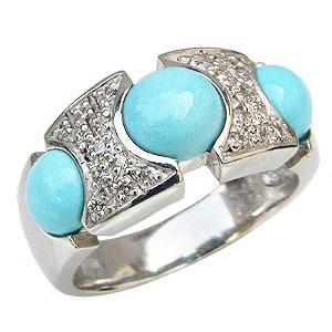 ターコイズリング トルコ石リング ダイヤモンド 0.20ct K18ホワイトゴールド 指輪 送料無料 カジュアル