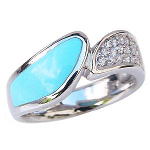 ターコイズ トルコ石 リング ダイヤモンド 0.20ct ホワイトゴールド 指輪 送料無料 カジュアル