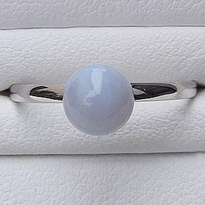 母の日 2019 カルセドニー リング 6mm K18 WG ホワイトゴールド シンプル 指輪