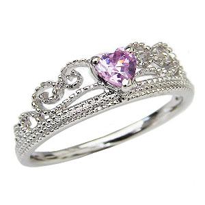 ピンクトルマリンリング ティアラリング 指輪 ピンクトルマリン 王冠 リング ホワイトゴールド 送料無料