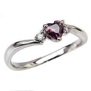 ガーネットリング ハートリング ガーネット指輪 ダイヤモンド 0.04ct K18ホワイトゴールド 送料無料 カジュアル