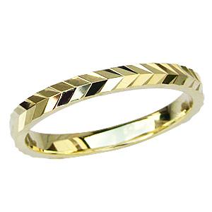 K18 ゴールド シンプル マリッジリング メンズ デザインカットリング 地金リング 結婚指輪 送料無料