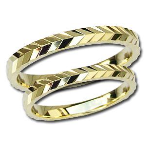 マリッジリング ペアリング 結婚指輪 地金リング 指輪 K18 ゴールド シンプル デザインカットリング 記念日 プレゼント