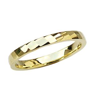 地金リング ゴールド デザインカットリング シンプル メンズ 指輪 K18 マリッジリング 送料無料 バレンタイン