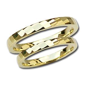二人の個性を出したい18金ゴールドデザインカットペアリング 結婚指輪 マリッジリング ペアリング K18 ゴールド 地金リング 指輪 シンプル デザインカットリング 記念日 プレゼント