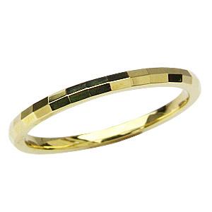 母の日 2019 地金 デザインカットリング シンプル 指輪 K18 ゴールド マリッジリング 婚約指輪